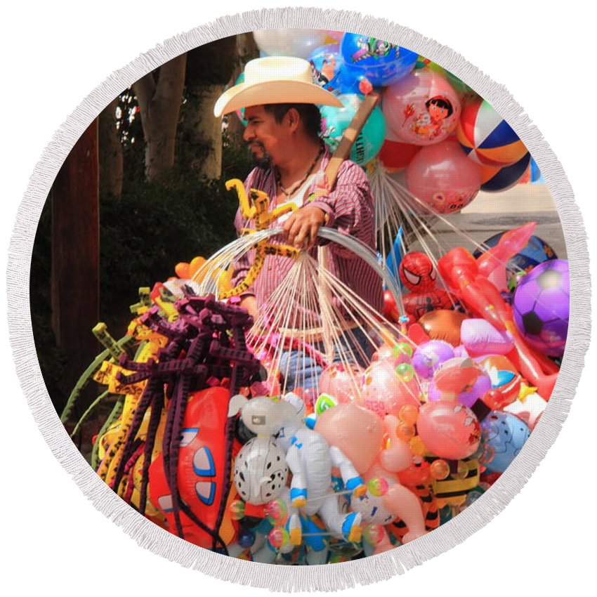 Toy Vender Round Beach Towel featuring the photograph Toy Vender In San Jose Del Cabo Mexico by Roupen Baker