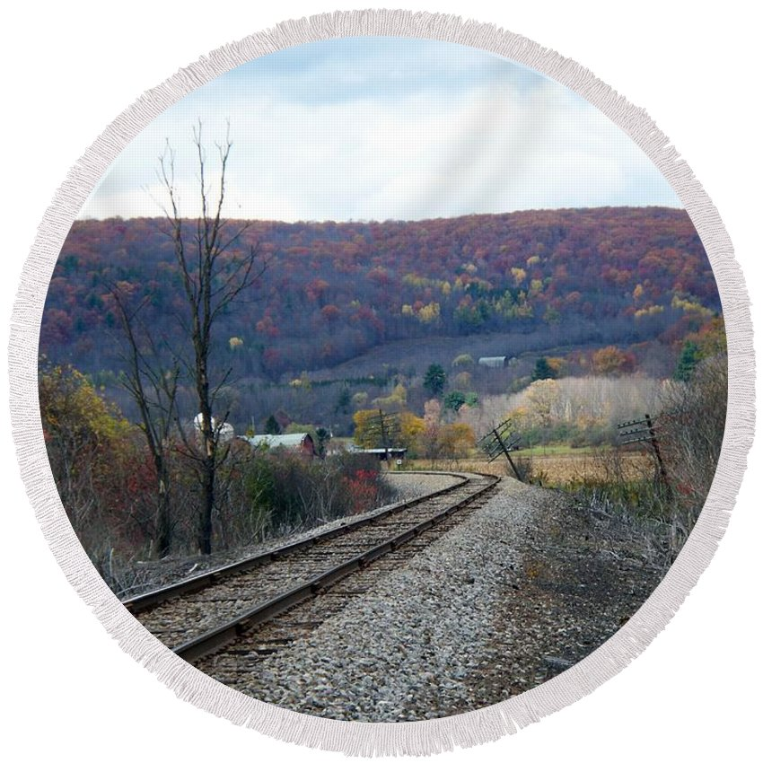 New York Round Beach Towel featuring the photograph Tracks In The Valley by Christian Mattison