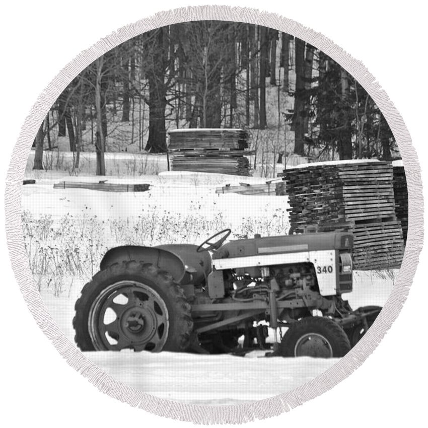 Tractor Round Beach Towel featuring the photograph Tractor At The Mill by Michael Peychich