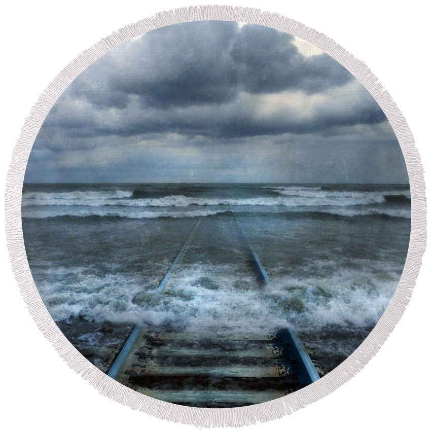 Tracks Round Beach Towel featuring the photograph Train Tracks Into The Sea by Jill Battaglia