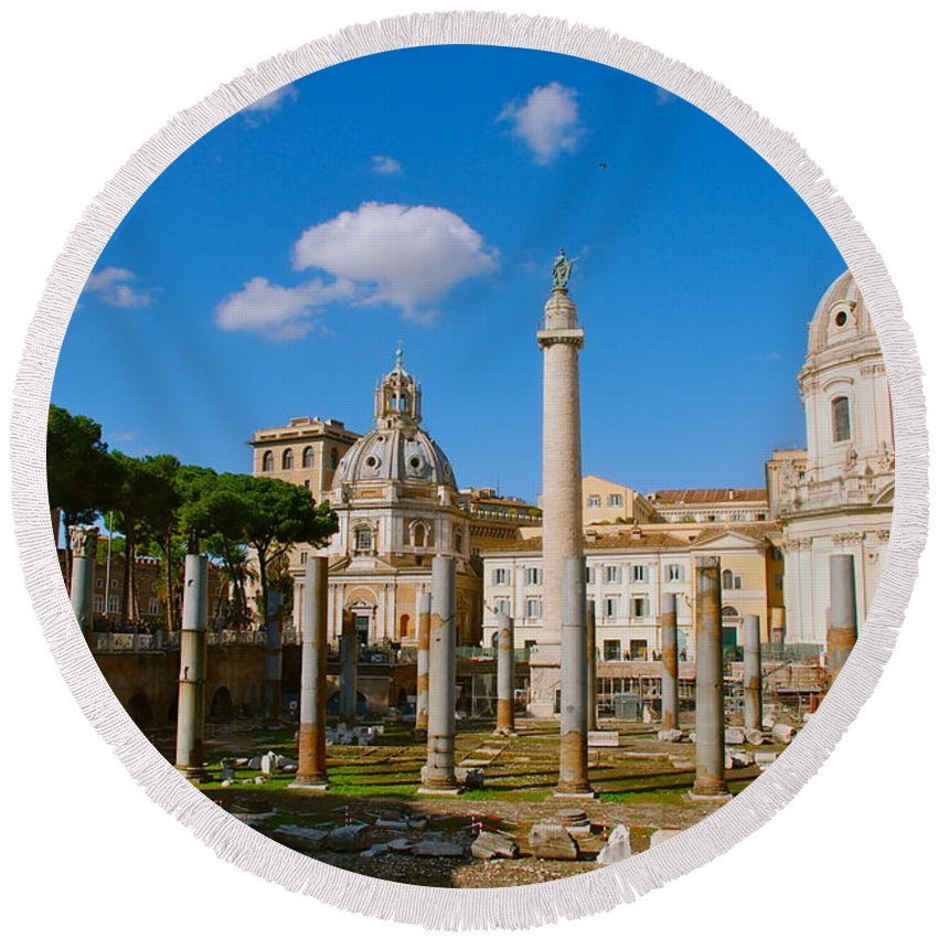 Rome Round Beach Towel featuring the photograph Trajan's Market by Eric Tressler