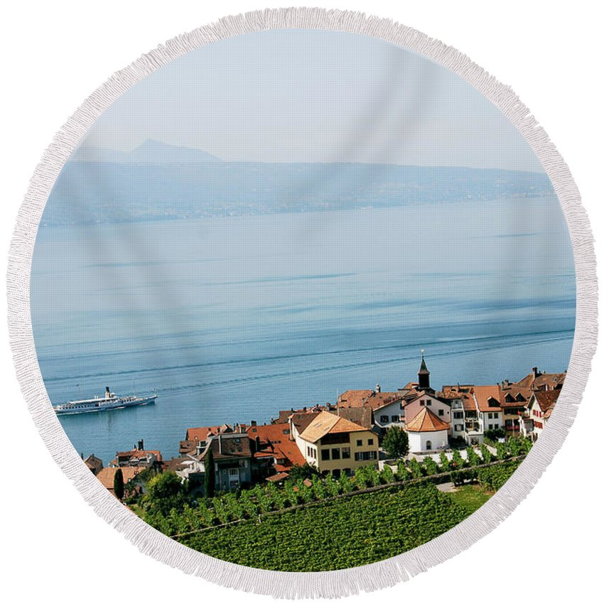 Photograph Round Beach Towel featuring the photograph Tranquil Lake Geneva by Ivy Ho