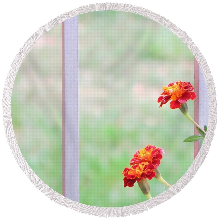 Marigolds Round Beach Towel featuring the photograph Tranquil by Sonali Gangane