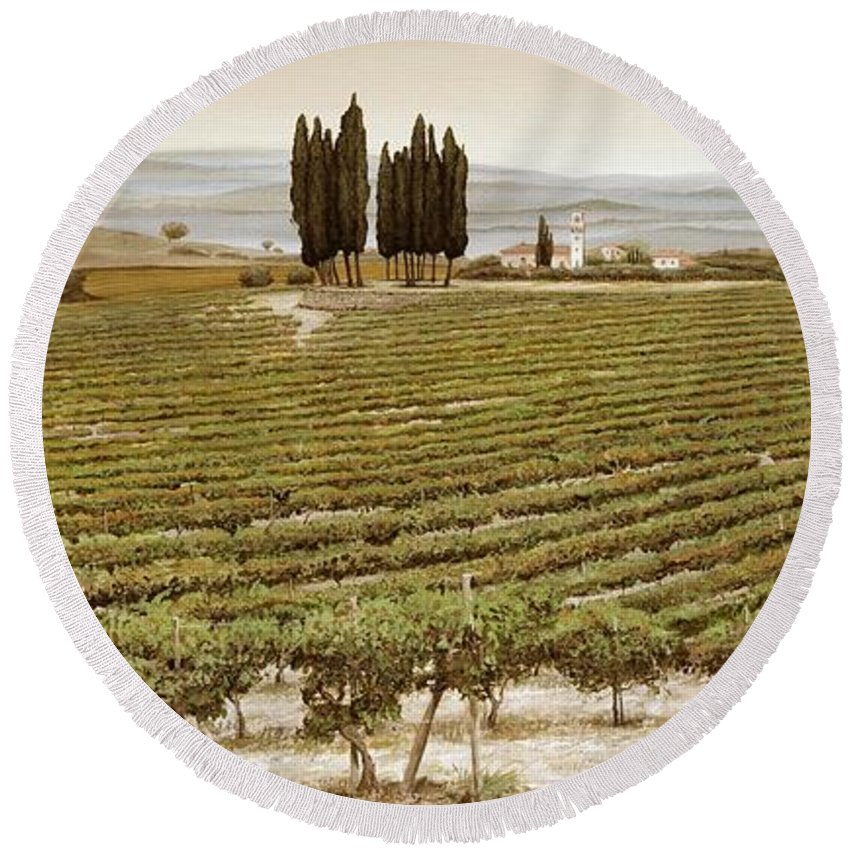 Tuscan; Italian Landscape; Rural; ; Vines; Wine; Viticulture; Countryside; Rural; Tuscany; Italy; Vineyard Round Beach Towel featuring the painting Tree Circle - Tuscany by Trevor Neal