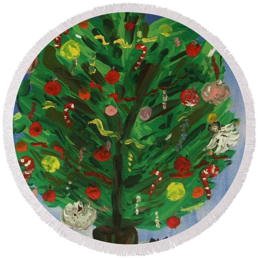 Christmastree Round Beach Towel featuring the painting Tree In The Blue Room by Mary Carol Williams