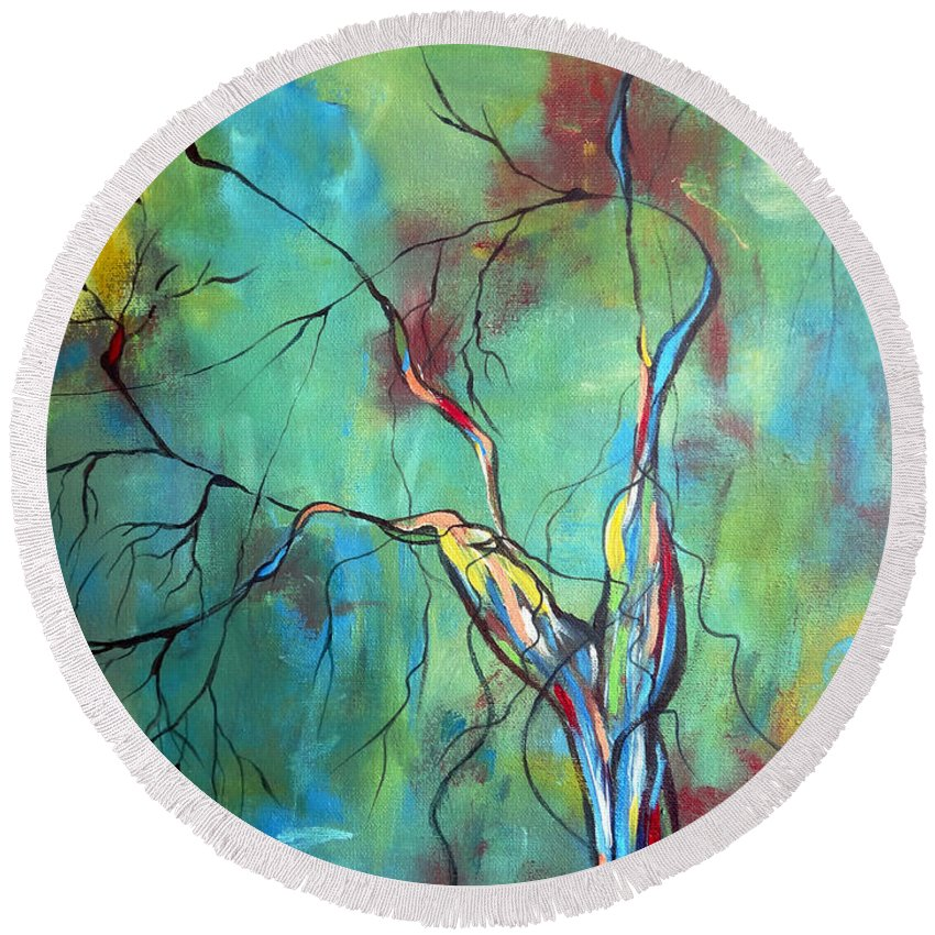 Tree Round Beach Towel featuring the painting Tree Of Winding Color by Ruth Palmer