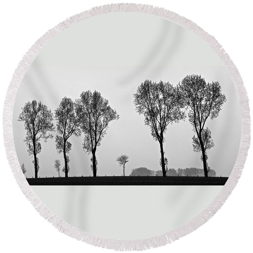 Trees Round Beach Towel featuring the photograph Trees by Eric Tressler