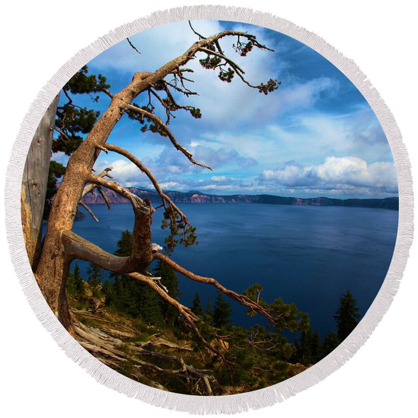 Crater Lake National Park Round Beach Towel featuring the photograph Trees On The Crater by Adam Jewell