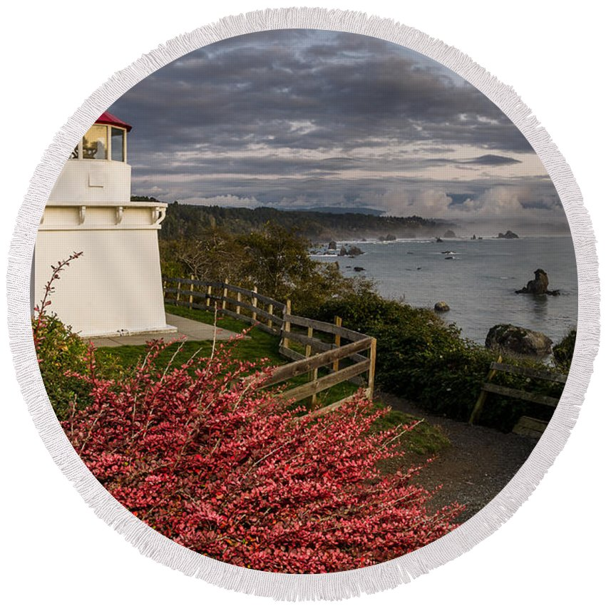 Trinidad Memorial Lighthouse Round Beach Towel featuring the photograph Trinidad Memorial Lighthouse After Storm by Greg Nyquist