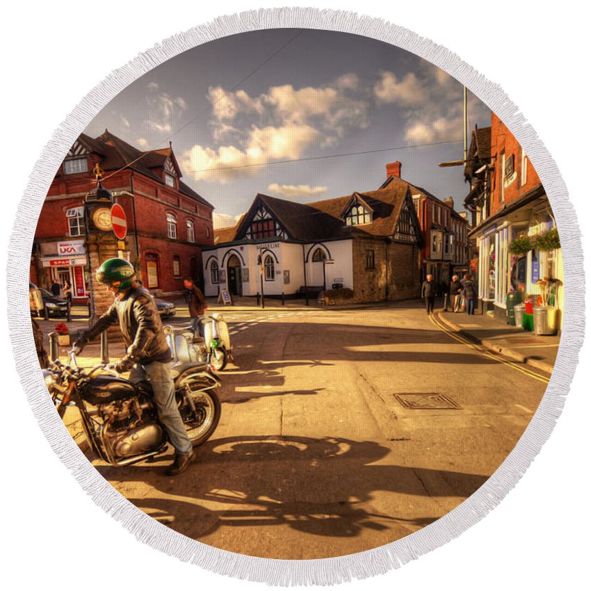 Much Round Beach Towel featuring the photograph Triumph In Much Wenlock by Rob Hawkins