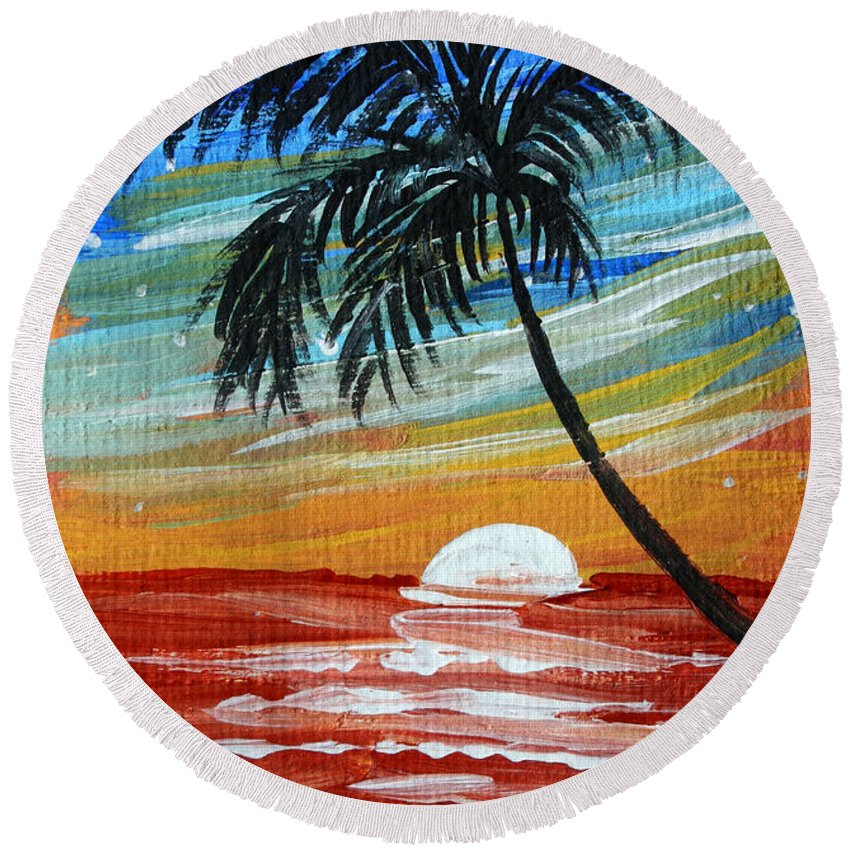 Abstract Round Beach Towel featuring the painting Tropical Abstract Palm Tree Original Plumeria Flower Painting Sinking Below By Madart by Megan Duncanson