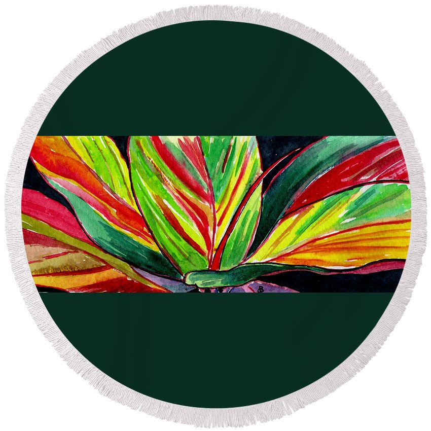 Watercolor Round Beach Towel featuring the painting Tropical Foliage by Brenda Owen