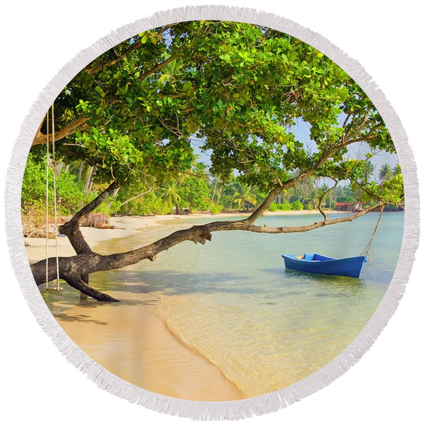 Asia Round Beach Towel featuring the photograph Tropical Island Scenery by Artur Bogacki