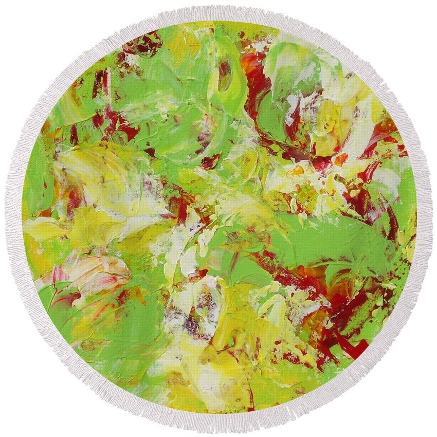 Abstract Round Beach Towel featuring the painting Tropics by Claire Gagnon