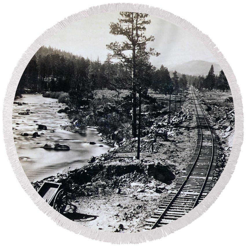 Truckee Round Beach Towel featuring the photograph Truckee River - California Looking Toward Donner Lake - C 1865 by International Images