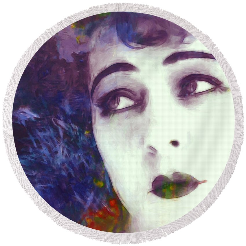 Portrait Face Beauty Female Woman Girl Actress Expressionism Impressionism Color Colorful Oil Painting Russian American Film Movie Nazimova Erotic Vintage Round Beach Towel featuring the painting True Beauty by Steve K