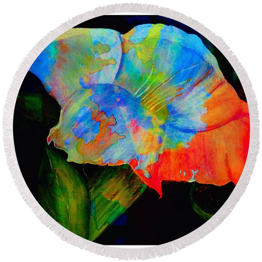 Trumpet Flower Round Beach Towel featuring the digital art Trumpet With Watercolor Overlay by Barbara Griffin