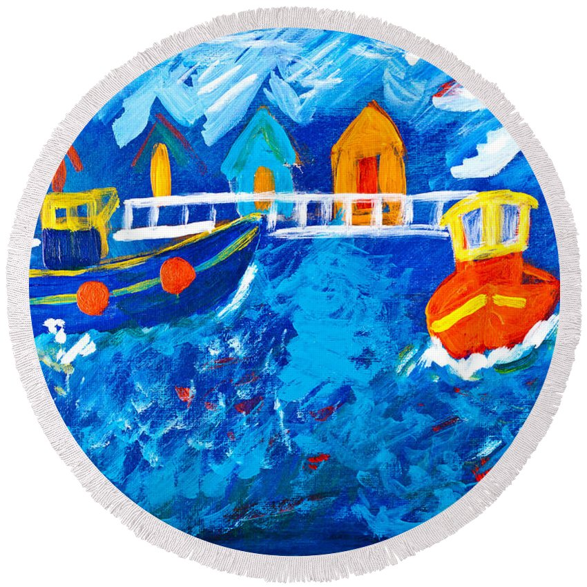 Painting Round Beach Towel featuring the painting Tug Boats At Sea by Simon Bratt Photography LRPS