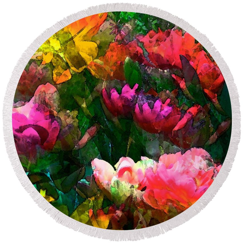 Floral Round Beach Towel featuring the photograph Tulip 51 by Pamela Cooper
