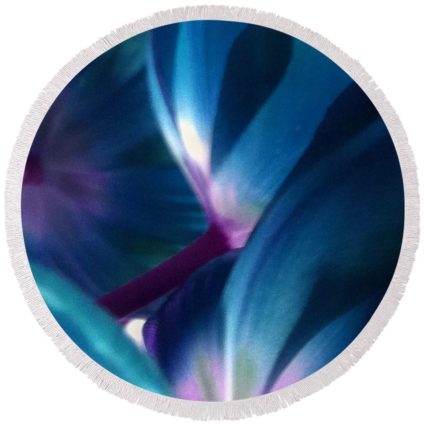 Blue Round Beach Towel featuring the photograph Tulip Blues by Kathy Corday