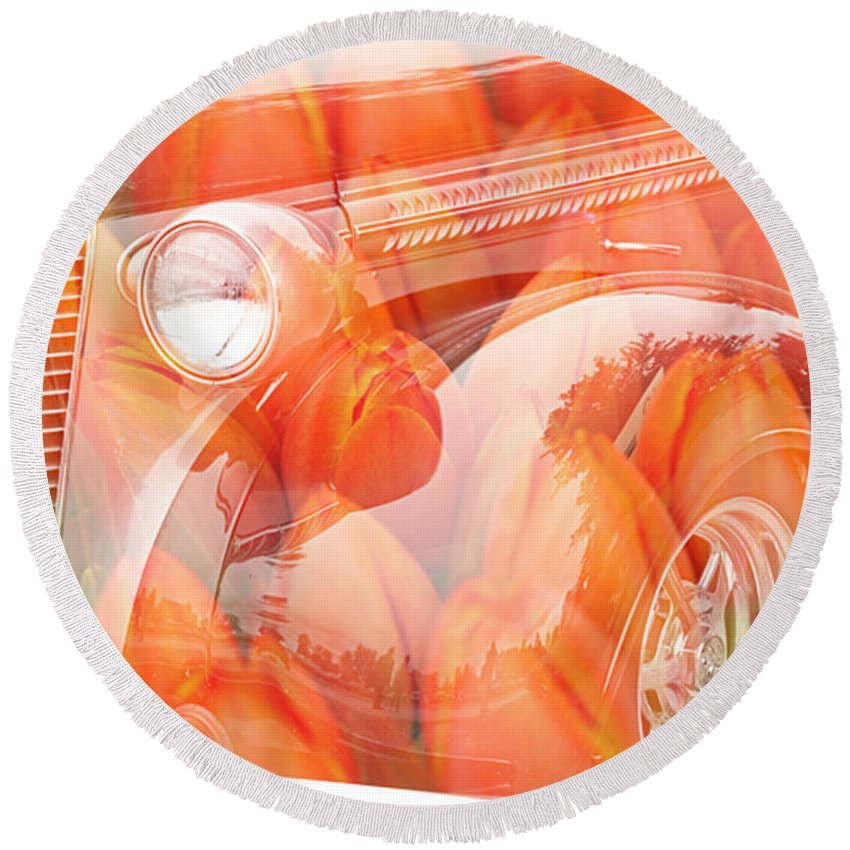 Old Cars Round Beach Towel featuring the photograph Tulip Car Abstract by Randy Harris
