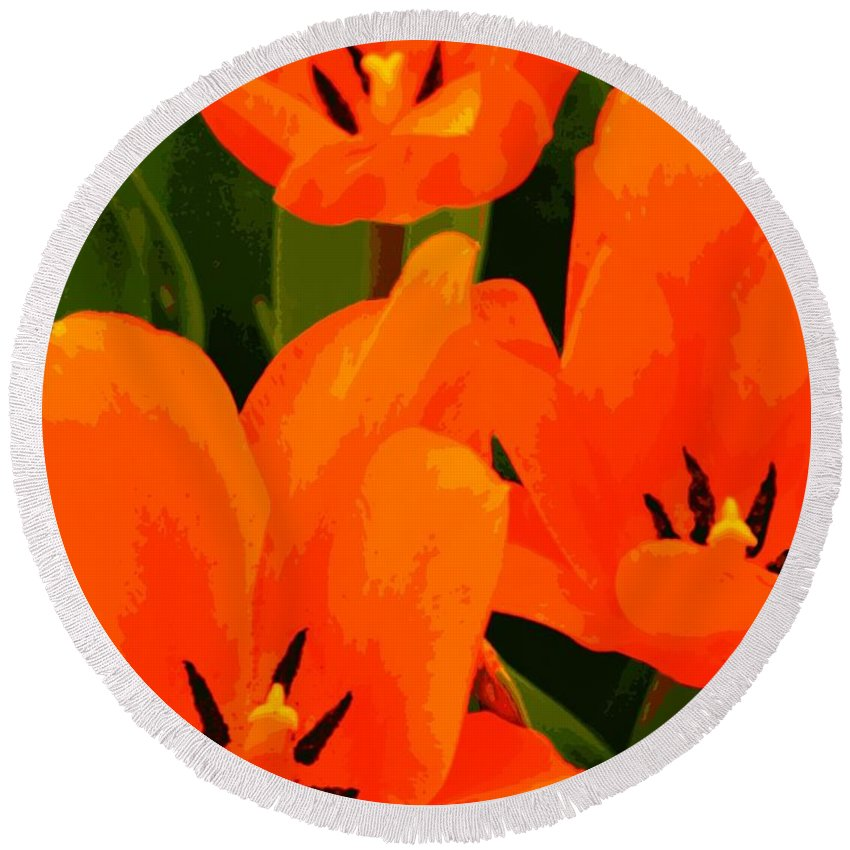 Nature Round Beach Towel featuring the photograph Tulip Trio by Chris Berry