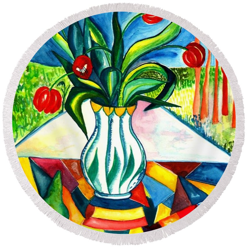 Flowers Round Beach Towel featuring the painting Tulips And A Pear by Caroline Street