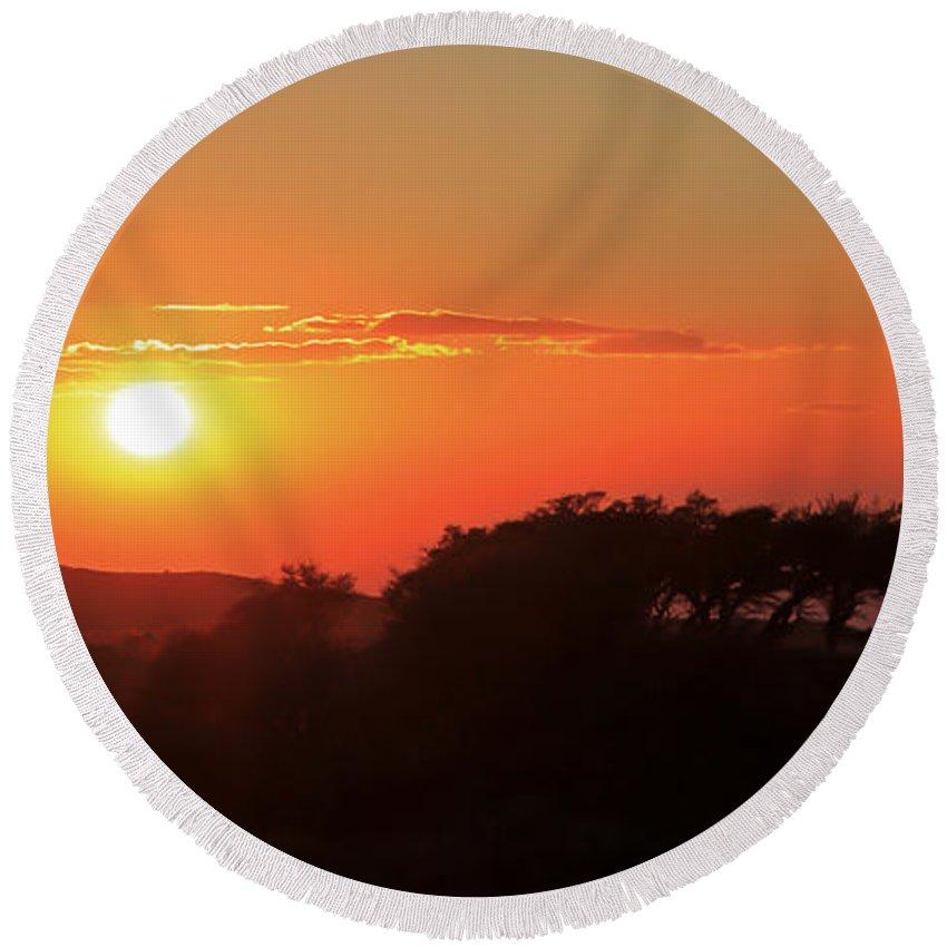 Sunset Round Beach Towel featuring the photograph Tundra Sunset by Athena Mckinzie