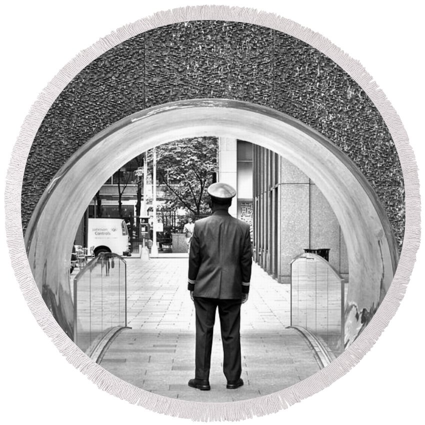 Door Man Round Beach Towel featuring the photograph Tunnel Man by Gwyn Newcombe