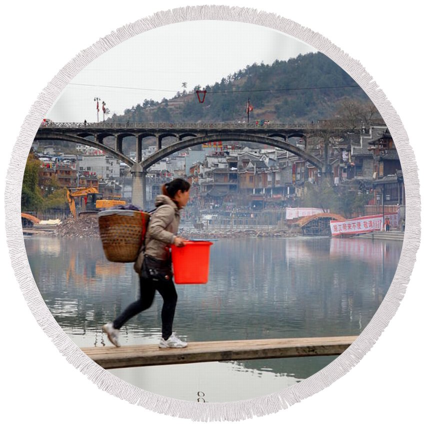 Town Round Beach Towel featuring the photograph Tuojiang River In Fenghuang by Valentino Visentini