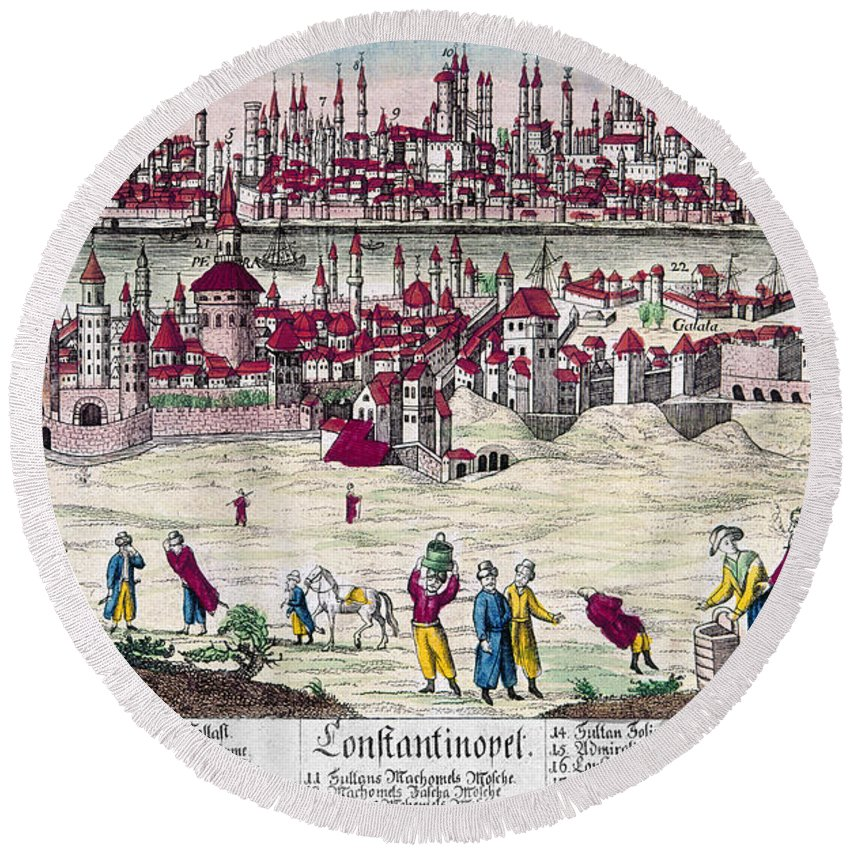 1820s Round Beach Towel featuring the photograph Turkey: Istanbul, C1820s by Granger