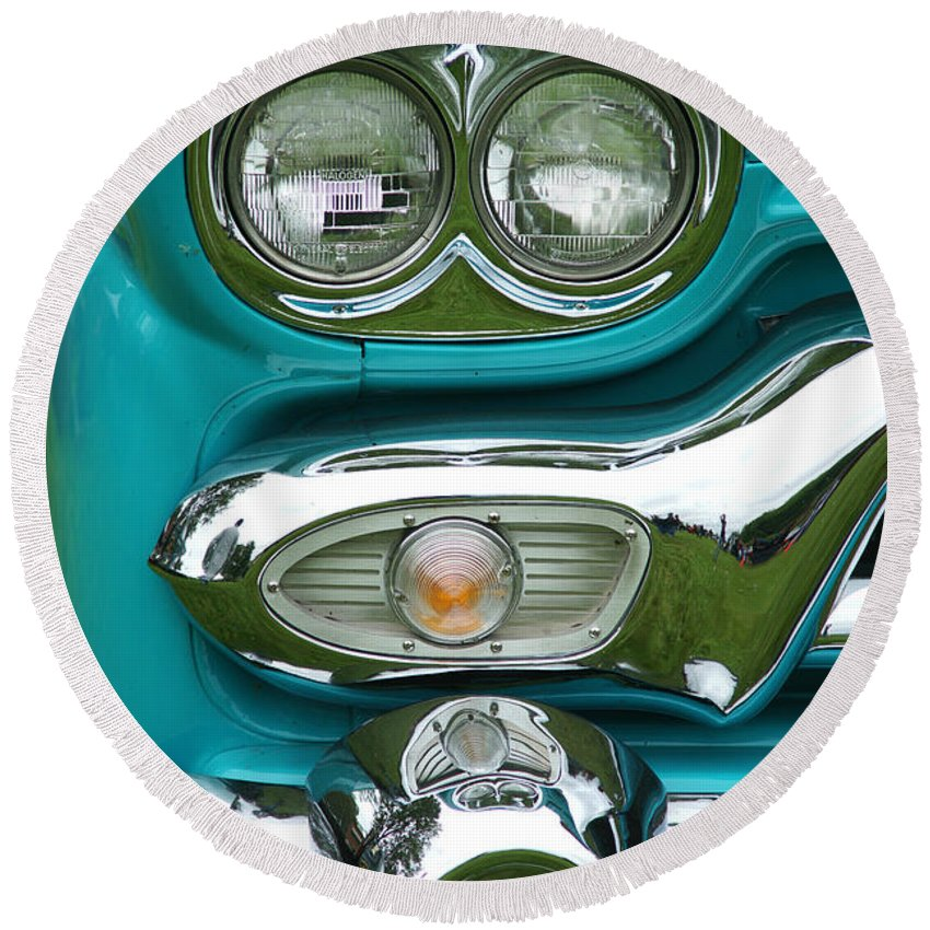 Custom Cars Round Beach Towel featuring the photograph Turquoise Headlight by Randy Harris