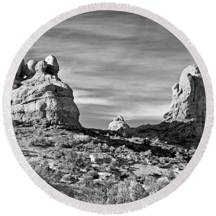 Arches National Park Round Beach Towel featuring the photograph Turrett Arch by Jim Chamberlain