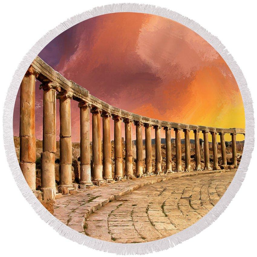 Twilight Of The Gods Round Beach Towel featuring the painting Twilight Of The Gods by Dominic Piperata