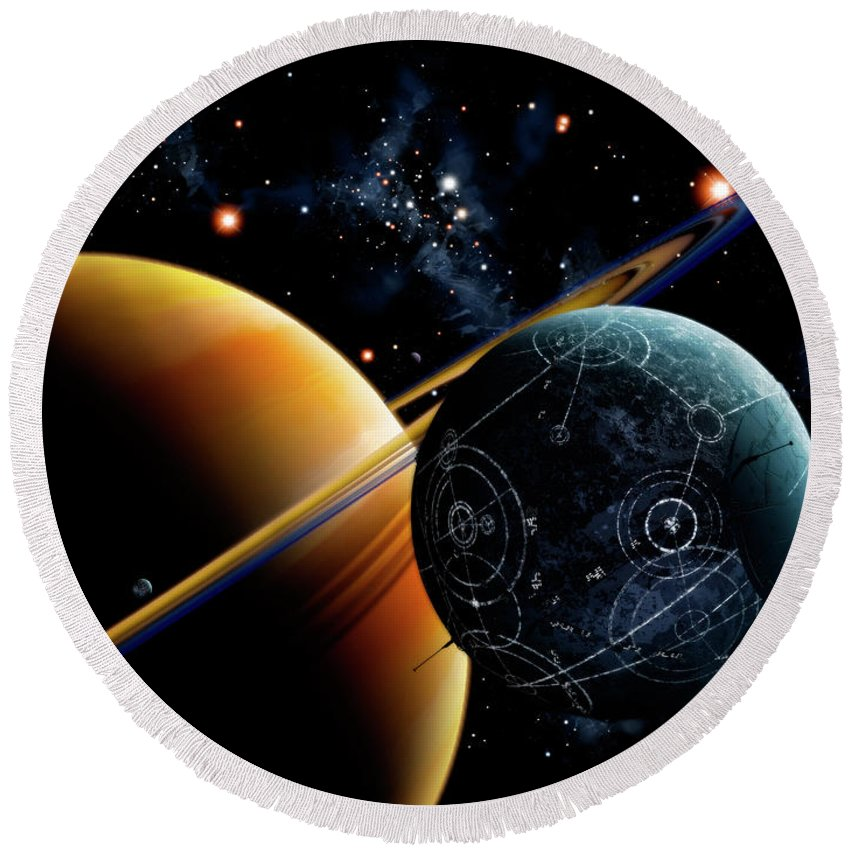 Artwork Round Beach Towel featuring the digital art Two Artificial Moons Travelling by Brian Christensen