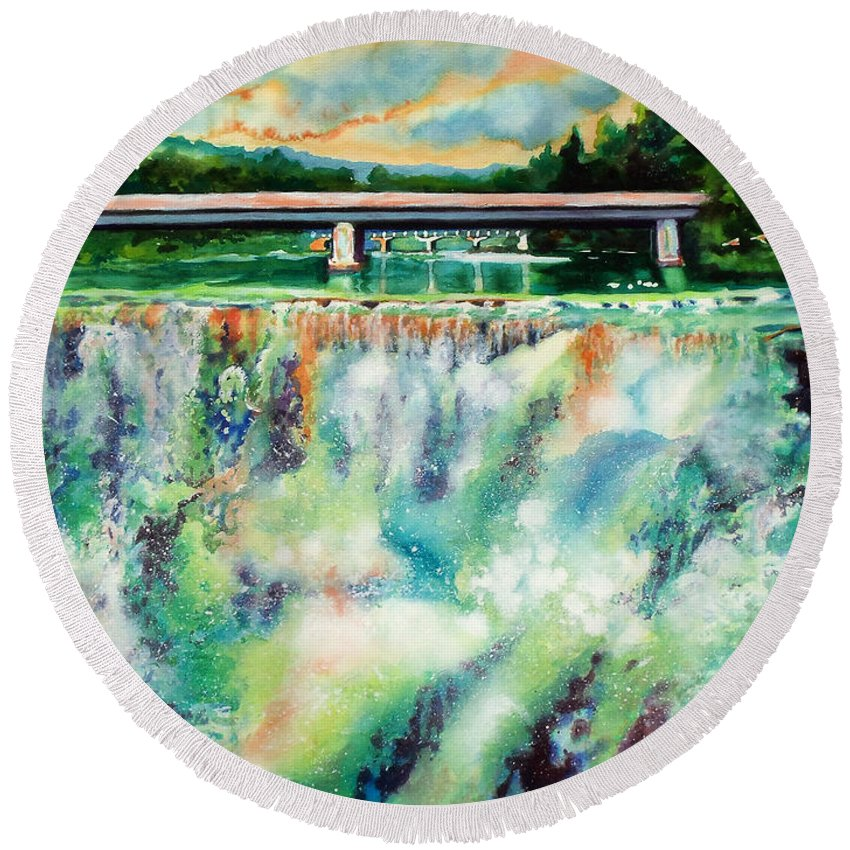 Paintings Round Beach Towel featuring the painting Two Bridges And A Falls 2     by Kathy Braud