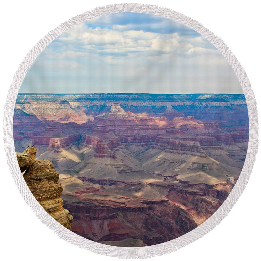 The Grand Canyon Round Beach Towel featuring the photograph Two Crows Watch Over The Canyon by Heidi Smith