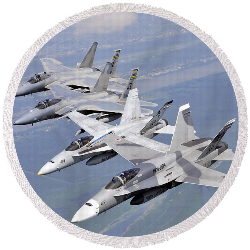 Aircraft Round Beach Towel featuring the photograph Two Fa-18 Hornets And Two F-15 Strike by Stocktrek Images