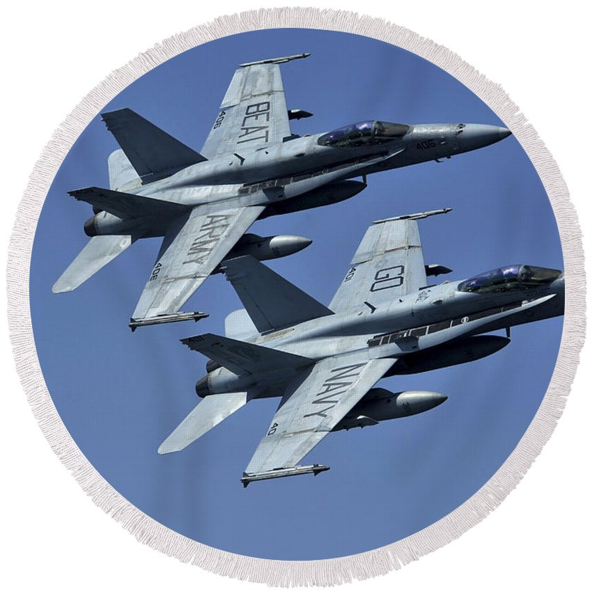 No People Round Beach Towel featuring the photograph Two Fa-18c Hornets In Flight by Stocktrek Images