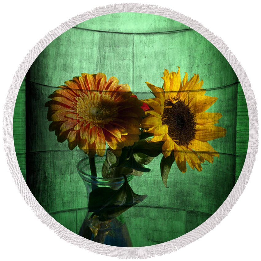 Abstract Round Beach Towel featuring the photograph Two Flowers On Texture by Nathan Wright