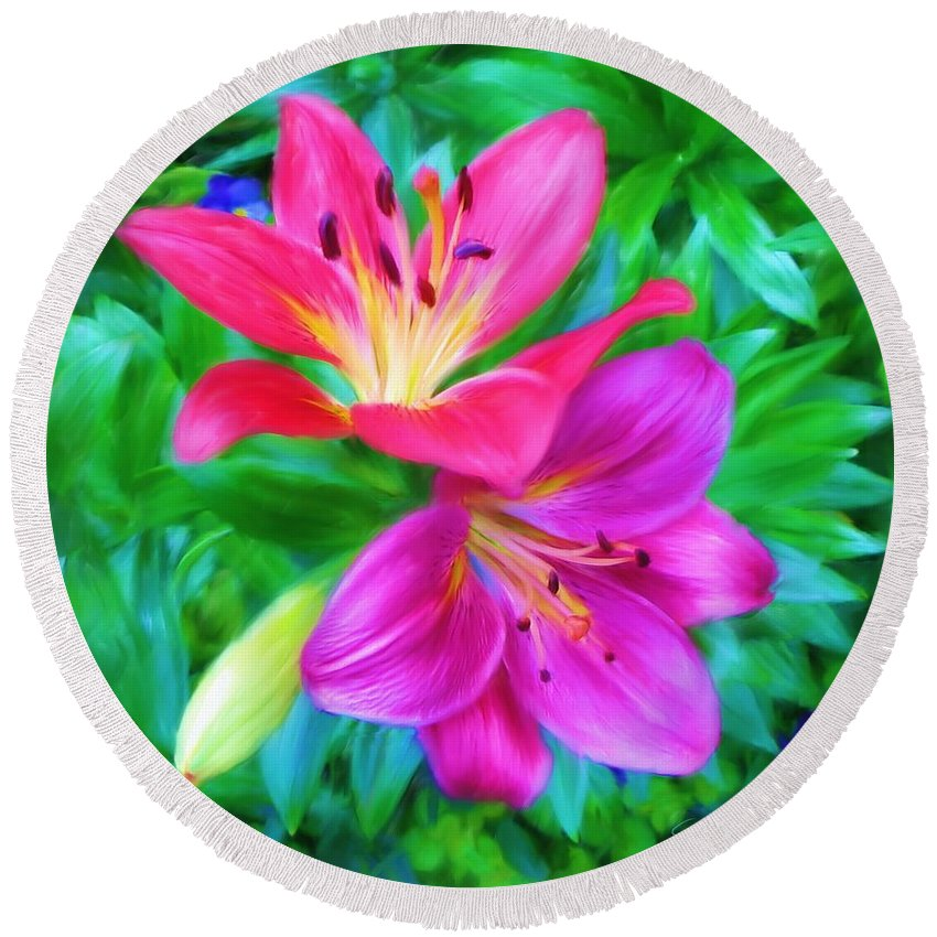 Lily Round Beach Towel featuring the painting Two Lily Flowers by Susanna Katherine