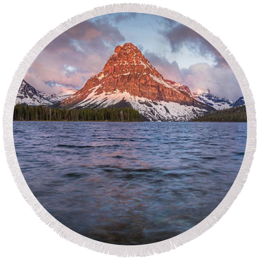 Glacier National Park Round Beach Towel featuring the photograph Two Medicine Lake Panorama by Greg Nyquist