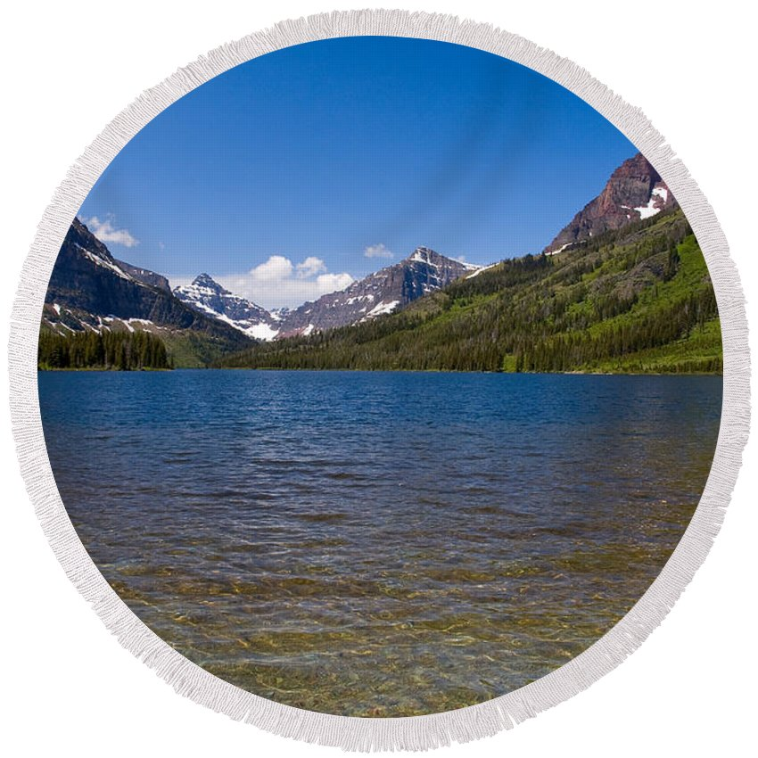 Sinopah Mountain Round Beach Towel featuring the photograph Two Medicine Lake by Steve Stuller