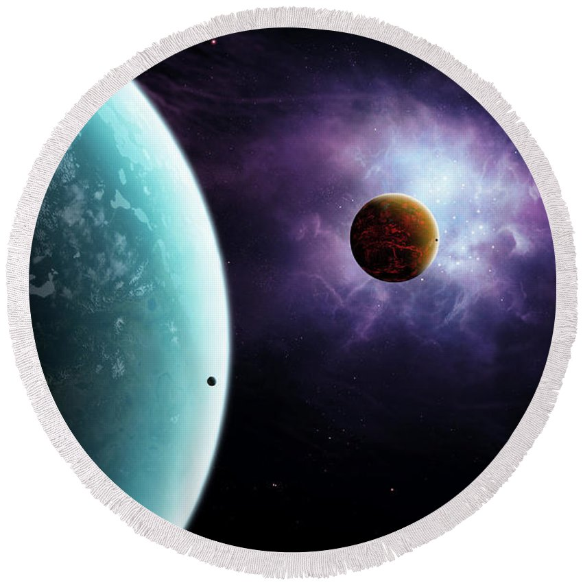Artwork Round Beach Towel featuring the digital art Two Planets Born From The Same Star by Brian Christensen