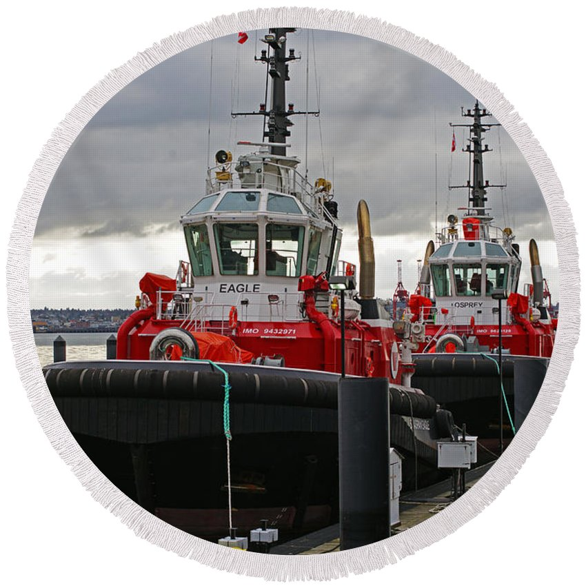 Boats Round Beach Towel featuring the photograph Two Red Tugs by Randy Harris