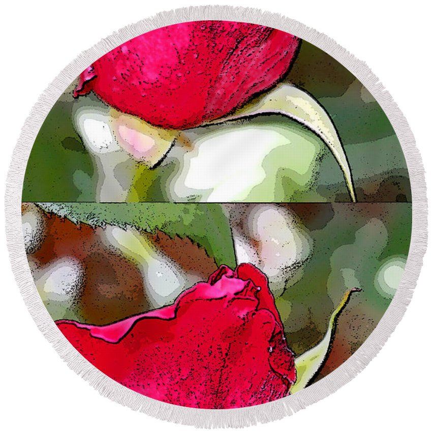 Augusta Stylianou Round Beach Towel featuring the digital art Two Rose Buds by Augusta Stylianou
