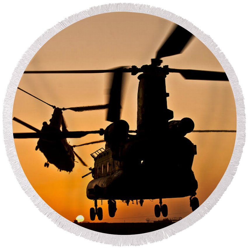 Afghanistan Round Beach Towel featuring the photograph Two Royal Air Force Ch-47 Chinooks Take by Stocktrek Images