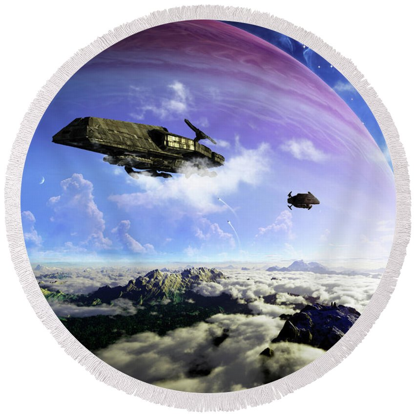 Artwork Round Beach Towel featuring the digital art Two Spacecraft Prepare To Depart by Brian Christensen