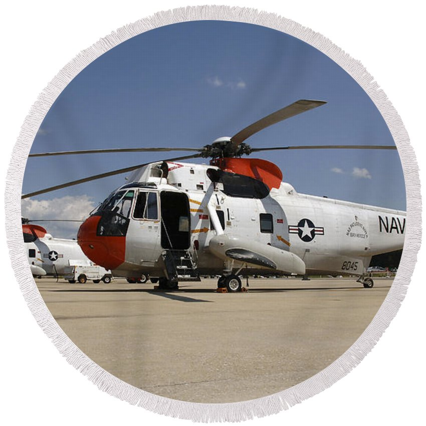 Transportation Round Beach Towel featuring the photograph Uh-3h Sea King Helicopters Based by Stocktrek Images