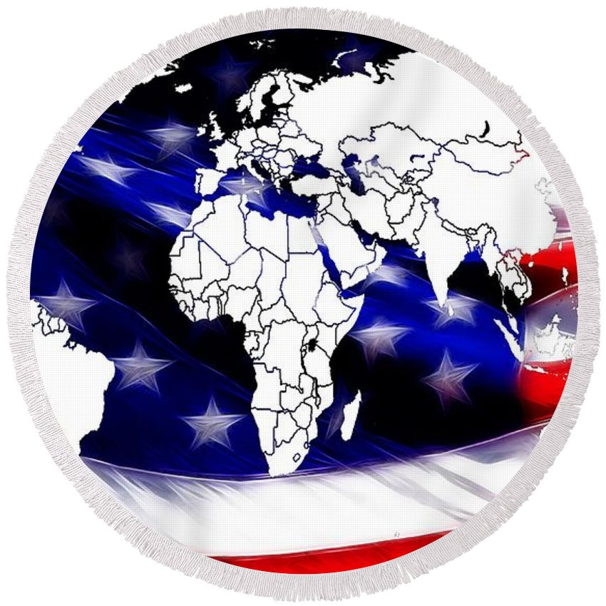 Map World Digital Art Atlas Country America Africa Asia Europe Australia Color Colorful Expressionism Impressionism Save American Usa Stars Stripes Flag Round Beach Towel featuring the digital art Under Protection Map by Steve K
